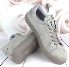 Womens Grey Casual Sneakers Flat Lace Up Pumps Ladies Comfy Trainers Shoes Size