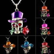 Vintage Crystal Skull Head With Rose Flower Pendant Women Necklace Long Chain