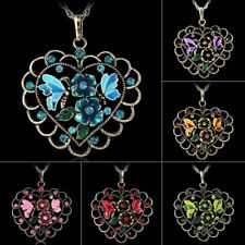 Hot Vintage Retro Bronze Hollow Heart Flower Rhinestone Crystal Pendant Necklace