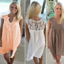 Women Summer Casual Sleeveless Lace Evening Party Beach Dress Short Mini Dress