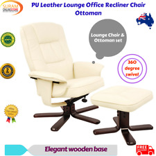 PU Leather Lounge Office Recliner Lounge Chair Ottoman Adjustable Swivel Home AU