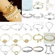 Multi-layer Heart Crystal Pearl CZ Bangle Bracelet Women Wedding Bridal Jewelry