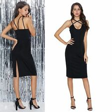 Lady Evening Dresses Plunge Strappy Backless Split Slim Fit Midi Dress Evening