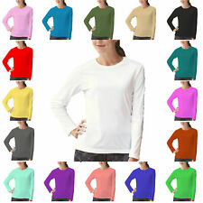 Kids Plain Basic Top Long Sleeve Girls Boys T-Shirt Tops Crew Uniform JUMPER