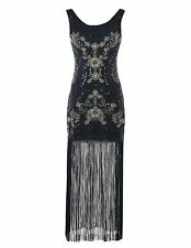 Women's Vintage 1920s Gatsby Sequins Embroidery Tassel Flapper Dress Prom Party