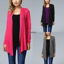 Women Casual Front Open Stitch Long Sleeve Irregular Hem Solid Cardigan FPAW 01