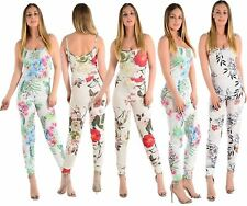 Ladies New Sleeveless Strappy Floral Summer Leaf Print Cami Jumpsuit size 8-14