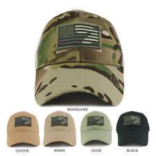USA Camo Flag Tactical Patch Cotton Adjustable Trucker Cap - FREE SHIPPING
