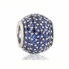Solid sterling silver Screw Core Charm Beads with Blue Rhinestone Crystal