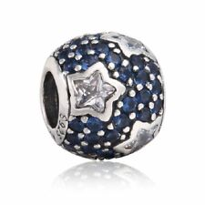 Solid sterling silver charm bead blue mixed star clear cz charms beads