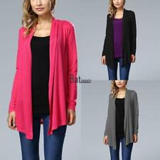 Women Casual Front Open Stitch Long Sleeve Irregular Hem Solid Cardigan BTSY 01
