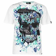MENS WHITE NO FEAR MX MOTOCROSS SKULL SHORT SLEEVE CREW NECK TEE SHIRT T-SHIRT
