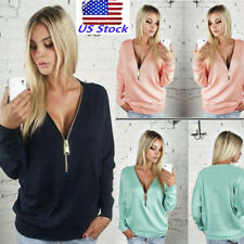 US Women Deep V Neck Long Sleeves Zip Up Blouse Pullover Casual Tops Shirts Tees