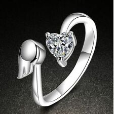 Opening Engagement Adjustable Size Ring Love Heart Angel Wings Adjustable Ring