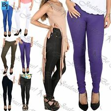 Womens Ladies Slim Skinny Fit Coloured Stretchy Jeans Trousers Leggings Jeggings