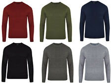 Mens Plain Crew Neck Cable Jumper Knitted Sweater