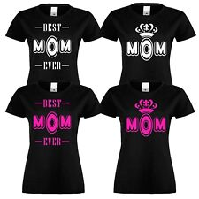 WOMEN  BEST MOM EVER DESIGN PRINTING COTTON T-SHIRT SHORT SLEEVES women tshirt
