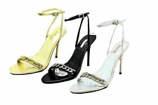 Ladies diamante chain high heel party sandals