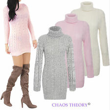 Womens Ladies Chunky Cable Knitted Roll Neck Stretch Jumper Long Sleeve Dress