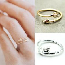 Women Girl Rings Gold Silver Adjustable Arrow Open Knuckle Ring Jewelry