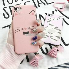 Cute Pink Smile Cat Face Stars Tassel Soft Case Cover for iPhone 7 7 Plus 6 6S