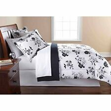 Bedding Comforter KING / QUEEN Size Set 8-PIECE Black White Floral Modern
