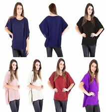 Womens Ladies Plain Chiffon Kimono Top Off Shoulder Baggy Flare Summer Top 8-24