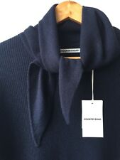 [ COUNTRY ROAD ] wool blend navy knit with scarf [ size: M ]