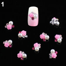 10 x 3D Rose Flower Faux Pearl Rhinestone Nail Art Tips Studs Manicure Welcome