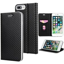 Ultra Thin Magnetic Carbon PU Leather Flip Wallet Case Cover For iPhone Samsung