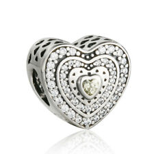 authentic 925 Sterling Silver Golden & Clear CZ Love Hearts Bead Charm Beads