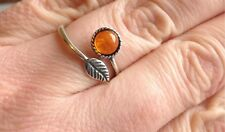 925 Sterling Silver Plated Feather Ring Amber Gemstone Adjustable Gift