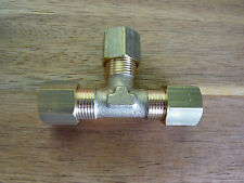 BRASS T TEE PIECE COMPRESSION FITTINGS METRIC COPPER GAS STEAM PIPE TUBE TUBING