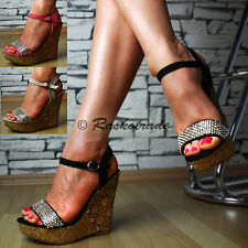 SeXy Ladies' shoes Platform Wedges Sandals Strap Wedge heel Party Glitter TOP