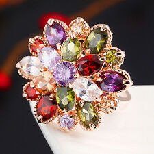 HK- Lady's 18K Gold Plated Alloy Ring Cubic Zirconia Colorful Crystal Flower Fas