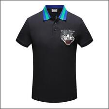 Fashionable Embroidery Tiger Animal Design Men's Summer Cotton Polo T-shirt