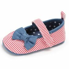 Baby Girl Striped Bowknot Polka Dot Anti Slip Soft First Walker Casual Shoes