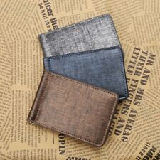 Cool Ultra-Thin Simple Money Clip Faux Leather Card Holder Bifold Mini Wallet