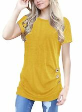 Lifenee1 Womens Summer Side Button Short Sleeve Tops T-Shirt Crew Neck Solid ...