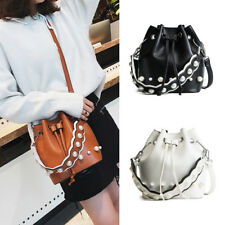 Women Pearl String Messenger Shoulder Satchel Crossbody Bucket Bag Purse Handbag