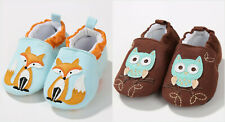 NEW Baby Boy Girl Fox Blue First Walker Soft Sole Baby Crib Shoes Slippers