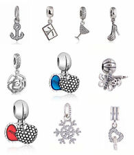 authentic 925 sterling silver Dangle Charms Clear CZ Pendant Charm European Bead