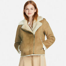 Uniqlo Faux Shearling Suede Teddy Fur Lined Biker Jacket Coat Beige UK L Large