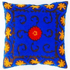 """INDIAN HANDMADE SUZANI CUSHION COVER 16"""" HOME DECOR PILLOW EMBROIDERED VINTAGE01"""