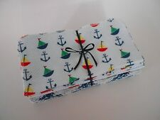 """Cloth Wipes 20 Baby Diaper Flannel 8""""x8"""" Boy Nautical Sailboat Blue 1 or 2 Ply"""