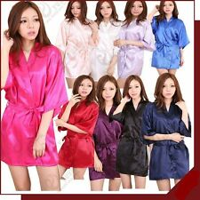 Womens-Plain Faux Silk Satin Kimono Dressing Gown Bridal Bridesmaid Wedding Robe