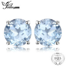 925 Silver Round 2ct Natural Sky Blue Topaz Birthstone Stud Earrings Genuine