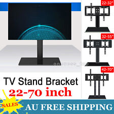 "Tempered Glass Floor TV Stand Bracket Mount Swivel Shelf 22-70"" Adjustable Black"