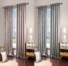 Luxurious PLAIN FAUX VELVET Fully Lined Ring Top Eyelet Curtains