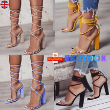 WOMEN ANKLE STRAP HIGH BLOCK HEELS SANDALS LACE UP CHUNKY PARTY PUMPS SHOES SIZE